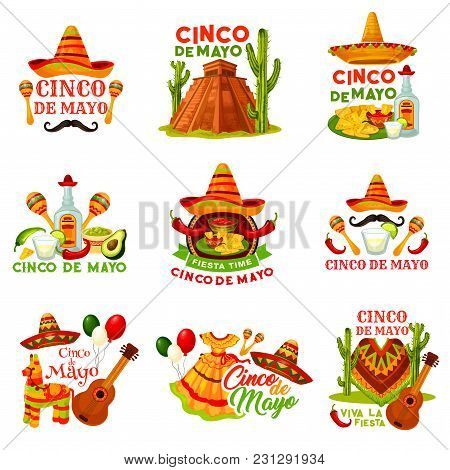 Cinco De Mayo Fiesta Party Icon Of Mexican Holiday. Festival Sombrero Hat, Chili Pepper And Jalapeno
