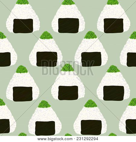 Onigiri Topped With Green Tobiko Roe. Seamless Pattern. Triangle Rice Balls Wrapped With Nori Seawee