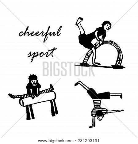 Lifestyle, Set, Cheerful, Isolate, Figure, Man, Boy, Child, Schoolboy, Teenager, Legs, Pose, Exercis