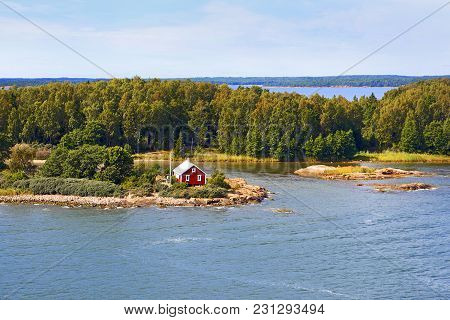 Seascape Of Aland Islands Archipelago At The End Of Summer, View From Cruise Ship.