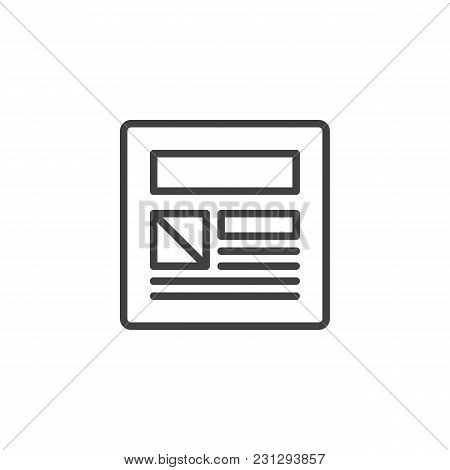 Web Page Design Outline Icon. Linear Style Sign For Mobile Concept And Web Design. Website Design Si