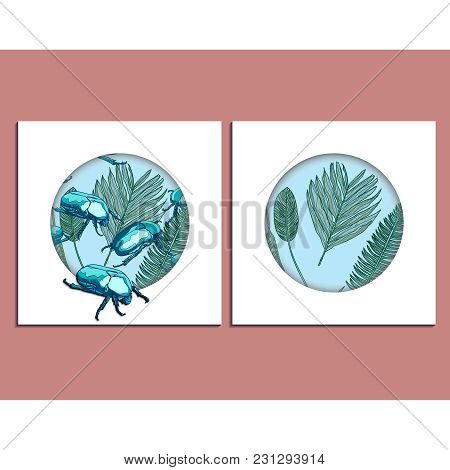 Trendy Summer Tropical Palm Leaves And  Scarab Beetles Background Set. Banner, A4, Card Design With