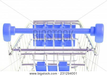 Handle Of Blue Shopping Cart Back Isolated On White Background Rear View