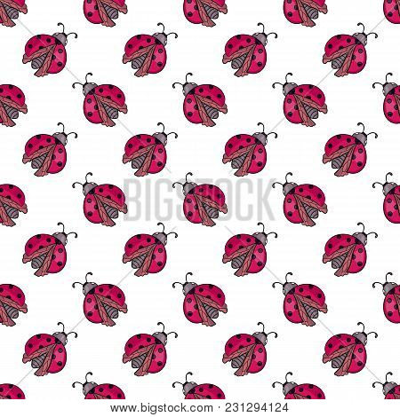 Red Ladybug On White Background.cute Cartoon Insect.seamless Pattern.vector Illustration For Childre