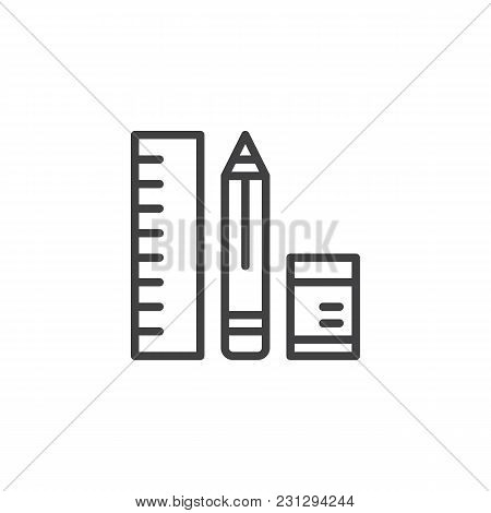 Pencil, Ruler And Eraser Outline Icon. Linear Style Sign For Mobile Concept And Web Design. Drawing