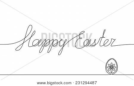 Happy Easter Handwritten Inscription. Hand Drawn Lettering. Alligraphy. One Line Drawing Of Phrase.