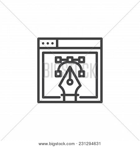 Web Vector Design With Fountain Pen Nib Outline Icon. Linear Style Sign For Mobile Concept And Web D