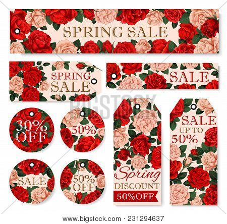 Spring Season Sale Tag Set With Flower Frame. Discount Price Offer Label With Red And Pink Rose Flow