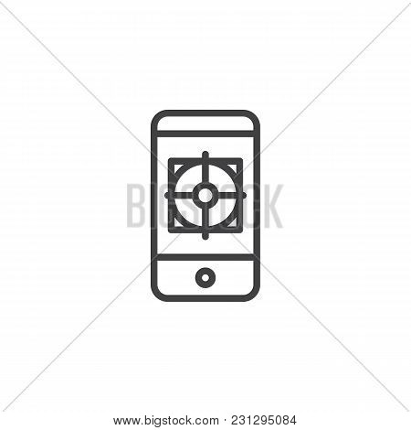 Mobile Phone With Aim On Screen Outline Icon. Linear Style Sign For Mobile Concept And Web Design. S