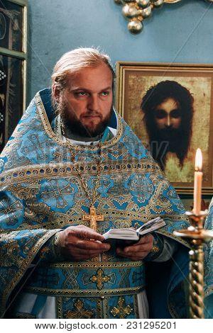 Voyutyn, Volyn / Ukraine - October 14 2008: Orthodox Priest During Celebration Pokrov