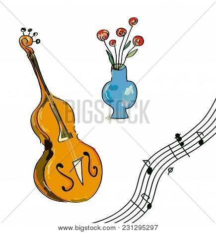 Music Festival Elements - Notes, Instrument, Flowers. Vector Graphic Illustration