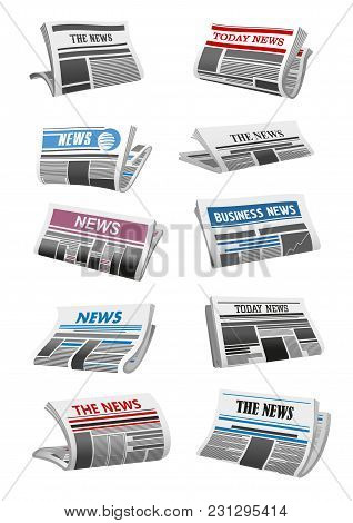 Newspaper 3d Illustration Set Of Folded News Paper Sheet. Daily Publication Of Business News Mock-up