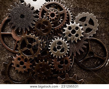Assortment Of  Metal Gears On Grunge Background