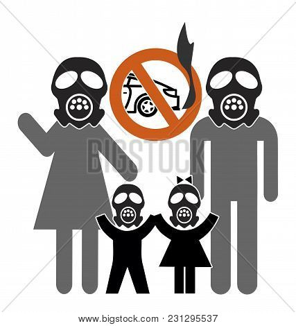 Car Ban To Curb Air Pollution. Family With Gasmasks Demands Driving Restrictions To Improve Air Qual