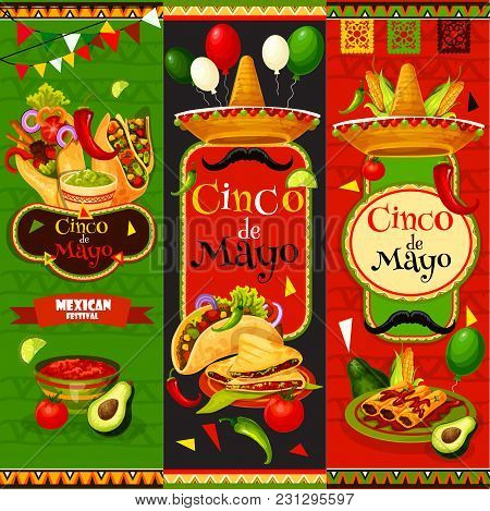 Cinco De Mayo Fiesta Celebration Banners Of Tequila, Jalapeno Pepper Or Cactus And Mustache. Vector