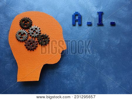 Ai Text With Gears And Paper Head Cutout On Blue Textured Background