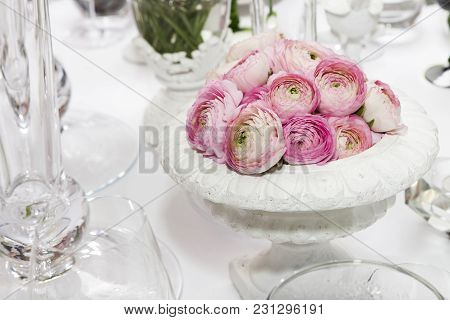 Decoration Of Wedding Table. Pink Ranunculus Persian Buttercup In Vase On White Table