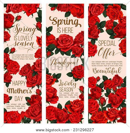 Spring Flower Greeting Banner For Mother Day And Springtime Season Holiday Template. Red Blossom Of