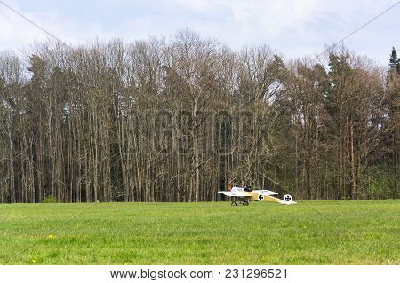 Plasy, Czech Republic - April 30 2017: Fokker E. Iii Eindecker Fighter Aircraft Of World War I. Stan