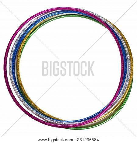 Several Multi-colored Hoops Gymnastic On A White Background, Fitness And Gymnastics, Isolate