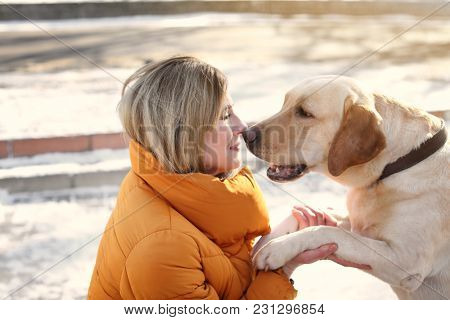 Woman with cute dog outdoors on winter day. Friendship between pet and owner