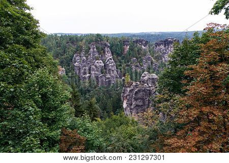 The Bastei Is A Rock Formation Towering 194 Metres Above The Elbe River In The Elbe Sandstone Mounta