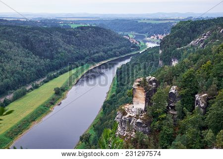 View From Viewpoint Of Bastei In Saxon Switzerland Germany To The Town City And The River Elbe On A