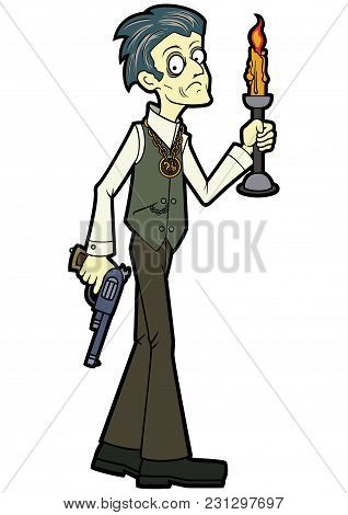 Illustration An Occult Investigator With A Candle And A Revolver, Frightened And Cautious, His Hair