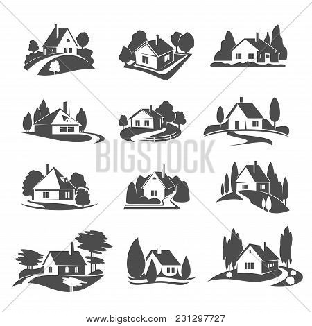 Real Estate Company Vector Icons Of House Or Village In Forest Or Woodland Park. Vector Isolated Sym