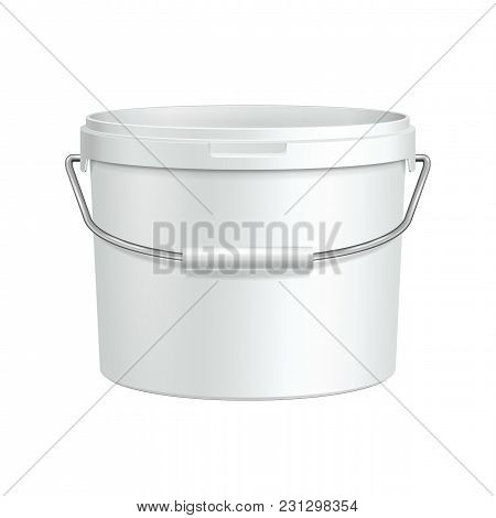 Opened White Tub Paint Plastic Bucket Container With Metal Handle. Plaster, Putty, Toner. Ready For