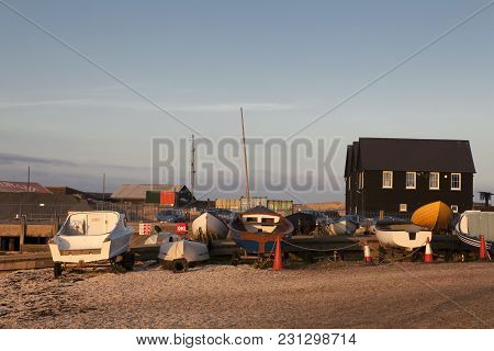 Whitstable, Uk - August 21 2015: Fishing Boats And Nets Made From Plastic Bottles In Whitstable Harb