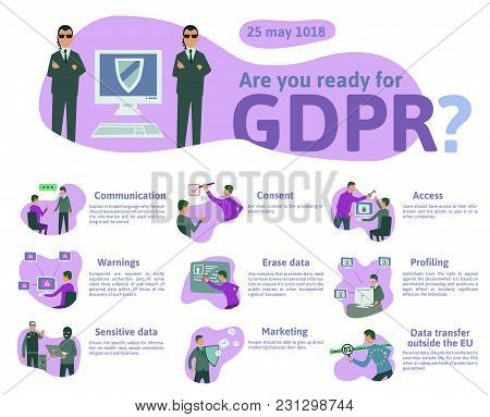 Gdpr Concept, Illustration. General Data Protection Regulation. The Protection Of Personal Data, Che