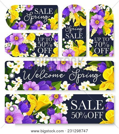 Spring Sale Shopping Tags Set For Springtime Seasonal Shopping Discount Promo. Vector Store Sale Ban