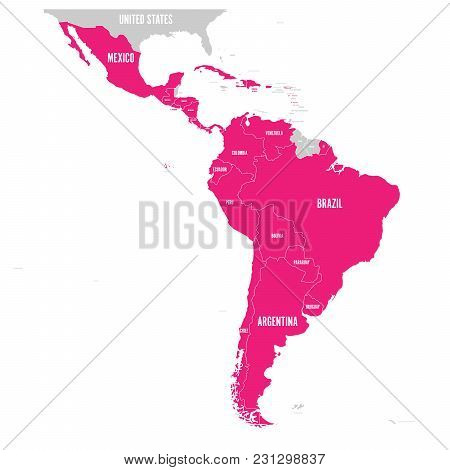 Political Map Of Latin America. Latin American States Pink Highlighted In The Map Of South America,