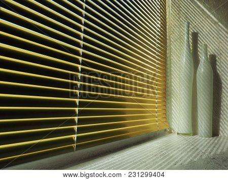 Yellow Shutters Through Which Light Falls And Casts Diagonal Shadows On A White Sill With Two Long W