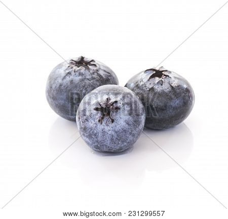 Blueberries Close Up Isolated On White Background.