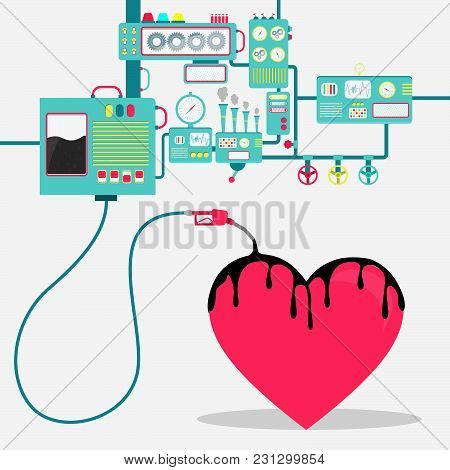 Machinery Of Factory Refining Oil And Spilling Oil On The Heart Shape. Oil Industry. Conceptual.