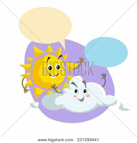 Cartoon Smiling Sun And Pretty Cloud Mascots. Weather And Summer Symbol. Shinning And Speaking Chara