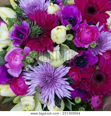 Bouquet Of Kalanchoe, Chrysanthemum, Eucalyptus, Aster And Cereals, Ranunculus