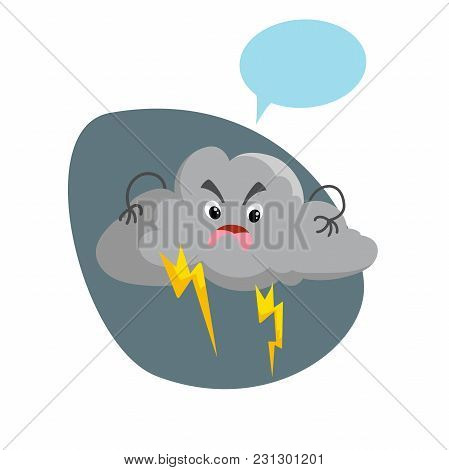 Cartoon Overcast Storm Cloud With Thunderstorm Mascot. Weather Rain And Storm Symbol. Speaking Chara
