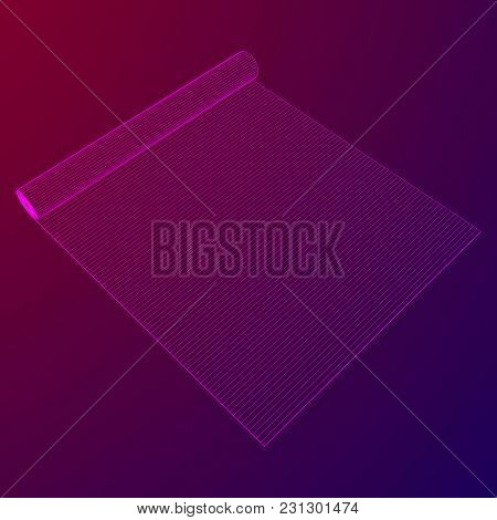 Half Rolled Yoga Pilates Mat Wireframe Low Poly Mesh Vector Illustration.. Fitness And Health. Exerc