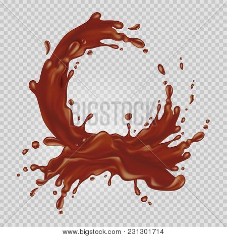 Chocolate Flowing In A Circle. Realistic Splash Of Liquid Chocolate Isolated On A Transparent Backgr