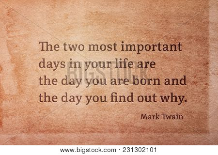 The Two Most Important Days In Your Life Are - Famous American Writer Mark Twain Quote Printed On Vi