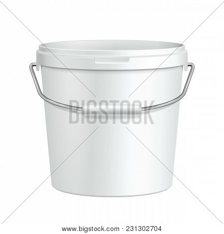Opened Tall White Tub Paint Plastic Bucket Container With Metal Handle. Plaster, Putty, Toner. Ready