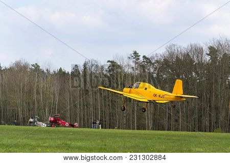 Plasy, Czech Republic - April 30: Zlin Z-37 Cmelak Czech Agricultural Airplane Used As Crop Duster F