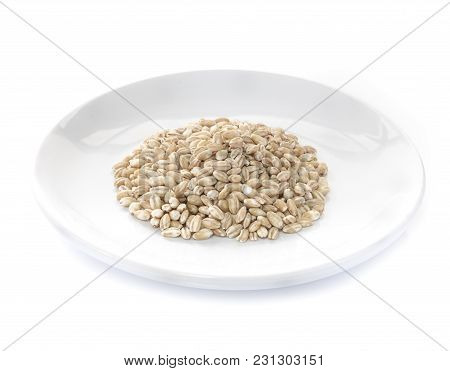 Pearls Barley Grain Seed Close Up On Background