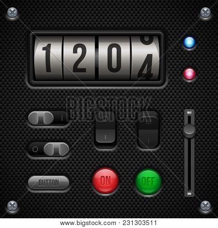 Carbon Ui Application Software Controls Set. Speedometr, Indicator, Detector, Led. Web Design Elemen