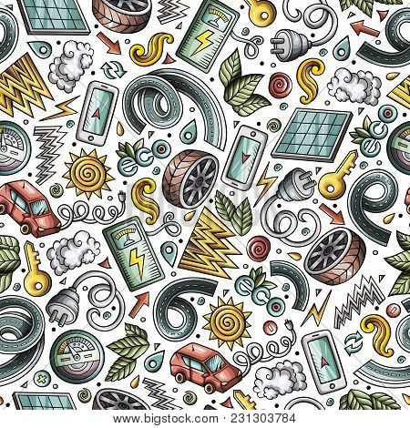 Cartoon Cute Hand Drawn Electric Cars Seamless Pattern. Colorful Detailed, With Lots Of Objects Back