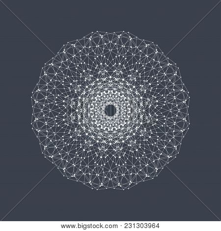 Geometric Abstract Form With Connected Line And Dots. Graphic Background For Your Design. Illustrati