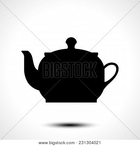 Teapot , Kettle, Tea Kettle Vector Icon And Silhouette Isolated On White Background
